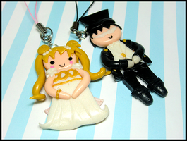 Princess Serenity + Tuxedo Kamen Mobile Set by GrandmaThunderpants