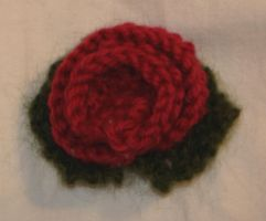 Knitted Rose Brooch by racehorse87-stock