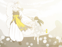 Huevember Day 2: Rin and Lord Sesshomaru by Planet-Spatulon