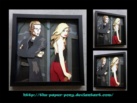 Spike and Buffy Shadowbox by The-Paper-Pony
