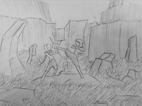 Sketch: The Duel by woundedskies