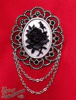 Gothic Rose Cameo Brooch by ArtOfAdornment
