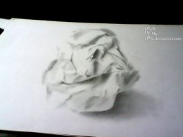 Crumpled Paperball ..... (3D Drawing) by AnkitDArt