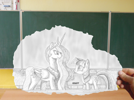 Celestia and Twilight in the class by Oggynka
