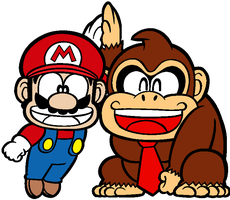Donkey kong and Mario by Helenhappymeal