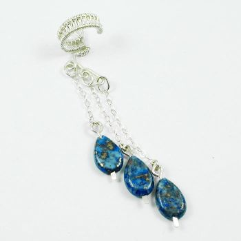 Sterling and Lapis Ear Cuff by Gailavira