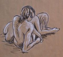 Charcoal and Pastel Life Drawing - Couple by mbeckett