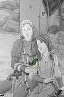 Commish - DA2 - Thera Hawke and Anders by JadeRaven93