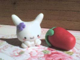 cute bunny and strawberry by VioletLunchell
