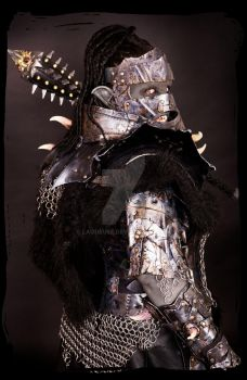 female kleather armor orc woman by Lagueuse