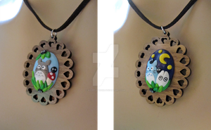 Day and Night Totoro Necklaces by egyptianruin