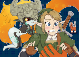Midna and Link by LovelyKouga