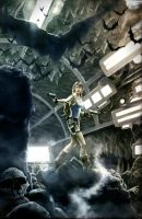 Lara Croft in the Batcave by JoelPoischen