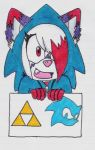 PC Half Body Shaded:. Write a triforce and logo by Sam-the-wolf147
