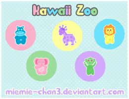 Kawaii Zoo Cute Button Badges by miemie-chan3