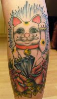 lucky cat by dustinpooletattoos