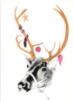 A5 Screen printed Reindeer christmas card by MeiowMeiow