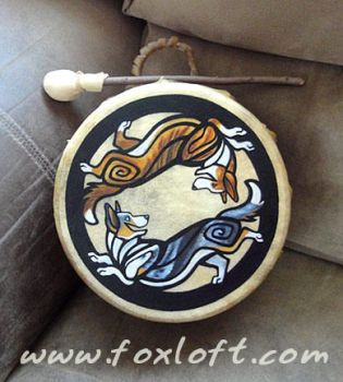 Yin Yang Cardigan Welsh Corgi Drum by Foxfeather248