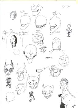 Batman doodles + Christopher Walken T-Rex by VeryTallHomunculus
