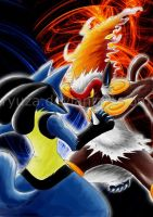 Lucario VS Infernape by Ryuza