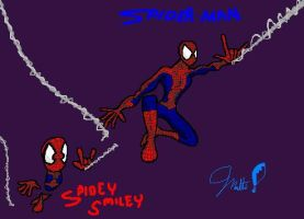 Spider-man with Spidey Smiley by cheddarpaladin