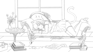 Being sleepy - Lineart by cytes