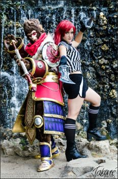 Katarina and Wukong cosplay (League of Legends) by LuzbeldAuvergne
