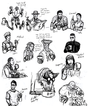 Fallout 4 Companions and Breakfast by tyrantwache