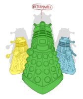 Colorful Daleks by D3a