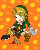 secretsanta: Link with kitties :3 by acua-chan