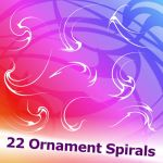 22 Ornament Spirals Brushes by XResch
