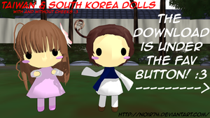 Hetalia MMD_Asian pack1: Taiwan, S.Korea Dolls DL by Noir74