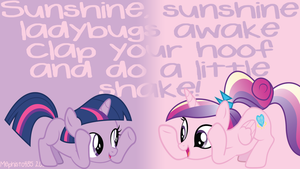 Filly Twilight + Young Cadence Hoofshake Wallpaper by Mephisto485