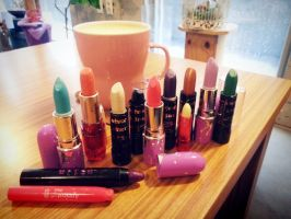 my lipstick collections (in the cafe) by YunhYeJ