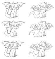 FREE LINEART DRAGONS-Ms paint friendly- by Xbox-DS-Gameboy