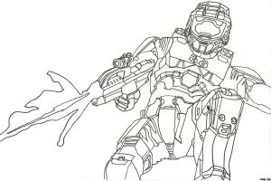 Master Chief in action by heinpold