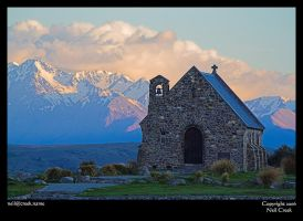 Church before mountains by neilcreek