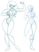 Superheroine Sketches by comixmill