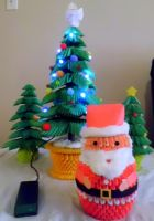 3d origami Santa and trees by dfoosdc