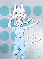 Tagiru and Gumdramon by ashflura