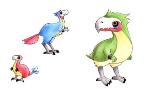 Fakemon: Prehistoric birds by nya-nannu