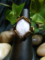 blue lace agate in bronze coil ring by BacktoEarthCreations