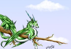 Wolfdragonbird thing - Emerald by DRagonka