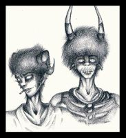 Mini Homestuck Sketches 2 - Cronus And Kurloz by AlbinoWerewolf729