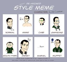 Different Styles Meme...with Loki by xiam47
