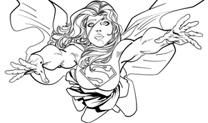 Supergirl Lineart by sammuss