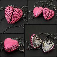 I Heart Brains Locket in pink by beatblack