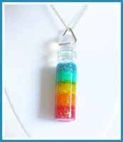 Rainbow Resin Filled Jar Necklace by softbluecries