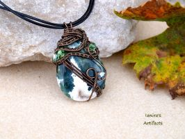 Ocean Jasper wire wrapped pendant by IanirasArtifacts