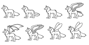 FREE winged pixel wolves bases by VexiWolf